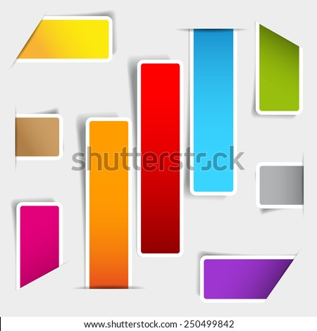 Set of blank rectangle or square labels with rounded corners - stock vector