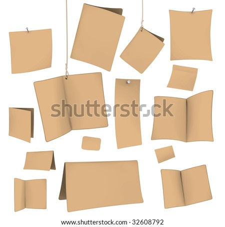 set of blank recycled paper cards 06 - stock vector