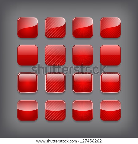 Set of blank red buttons for you design or app. - stock vector