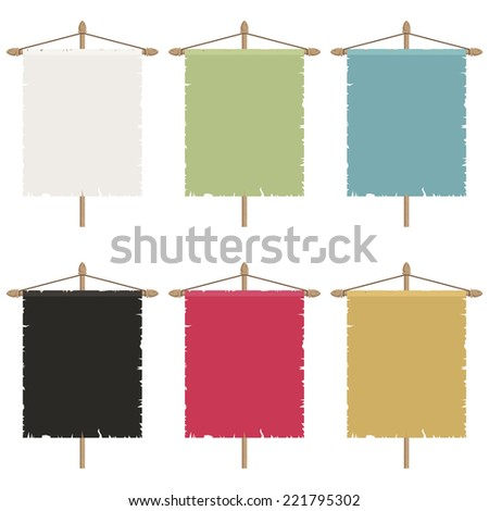 set of blank ripped banners, six variations isolated on white - stock vector