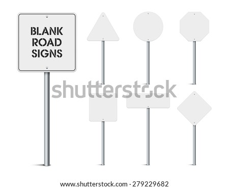 Set of blank road signs - stock vector