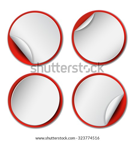 Set of blank, round promotional stickers  with red backdrop.  Vector illustration - stock vector