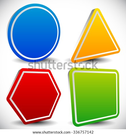 Set of blank shapes. Circle, triangle, octagon and square. - stock vector