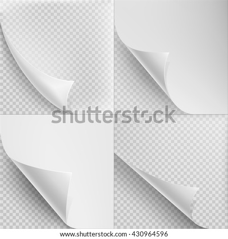 Set of 4 Blank Sheets paper with corner curl. EPS 10 vector file included - stock vector