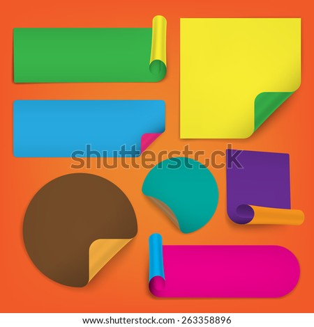 Set Of Blank Stickers on white background - stock vector