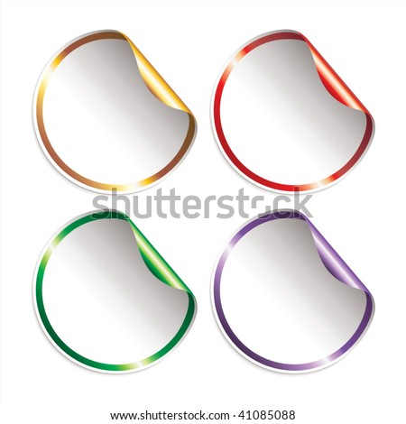 Set of blank, vector stickers with peeling corners, shining border and colored shining underside. - stock vector