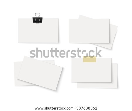 Set of blank white business cards with paper clip and Scotch tape isolated on white background. Twisted stack of vector paper cards. Realistic vector illustration of paper sheets with space for text - stock vector