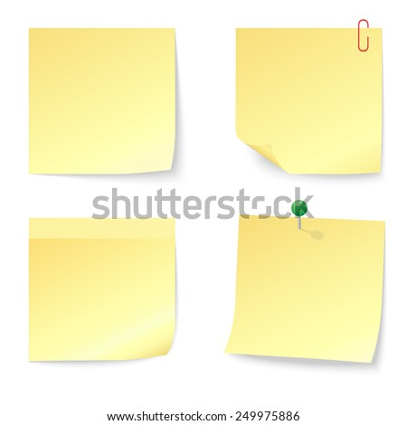 Set of Blank Yellow Sticky Notes with Push Pin and Paperclip isolated on white background. Vector illustration