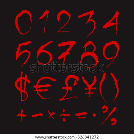 Set of Bloody numbers. Dark red stylized hand drawn numbers and most important mathematical signs isolated on a black background. Ideal font for a halloween party posters and invitations. - stock vector