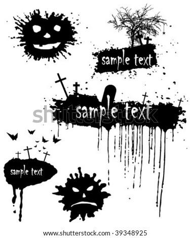 Set of blots for Halloween. Grunge Halloween background.  vector illustration - stock vector