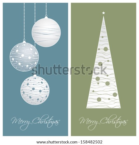 set of blue and green christmas card backgrounds, vector illustration - stock vector