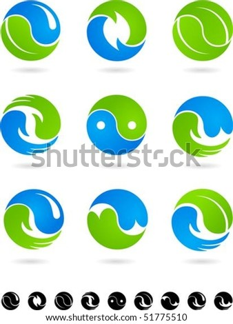Set of  blue and green Yin Yang symbols - stock vector