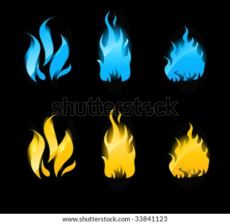 Set of blue and orange flames with glowing. Gas flames and fire flames. - stock vector