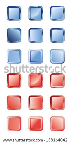 Set of blue and red buttons for web