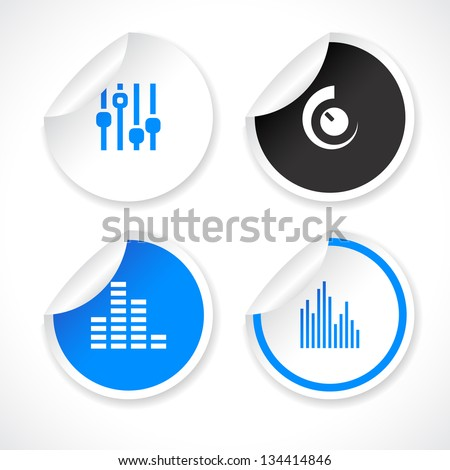 Set of blue and white vector stickers with icons. - stock vector