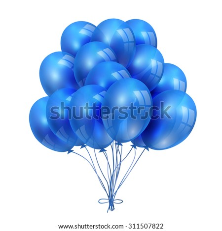 Set of BLue Balloons isolated on White Background - stock vector