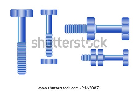 Set of blue bolts and nuts - stock vector
