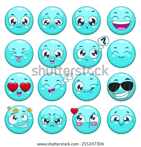 Set of blue cartoon round characters with different emotions, isolated vector - stock vector