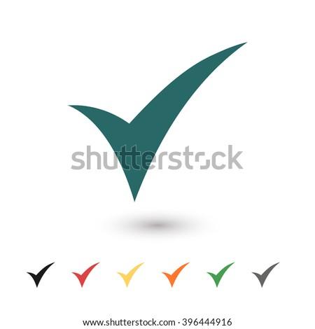 Set of: blue Check vector icon, black Check icon, red Check icon, yellow Check icon, orange Check icon, green Check icon, gray Check icon - stock vector