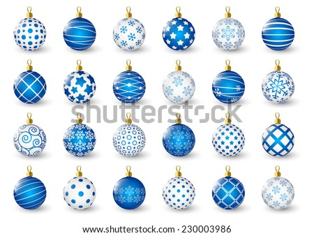 Set of blue Christmas balls - stock vector