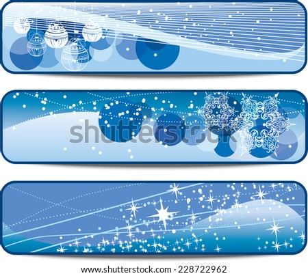 set of blue Christmas banners with space for text  - stock vector