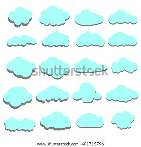 Set of blue clouds icons, shape, label. Graphic element vector. Vector design element for logo, web and print.