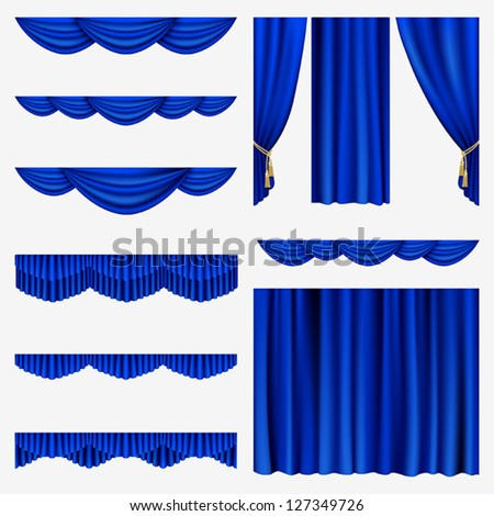 Set of blue curtains to theater stage. Mesh. - stock vector