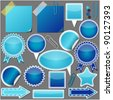 set of blue elements vector - stock vector