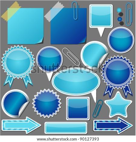 set of blue elements vector - stock vector