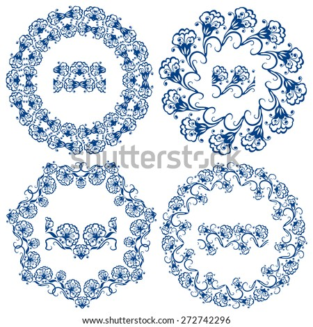 Set of  blue floral circle frames. Background in the style of Chinese painting on porcelain. Ornamental design elements. Pattern endless fragments. - stock vector