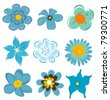 set of blue flower graphics vector - stock vector