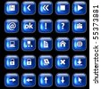 Set of blue glossy buttons for web design on black background - stock photo