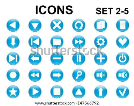 set of blue glossy round icons