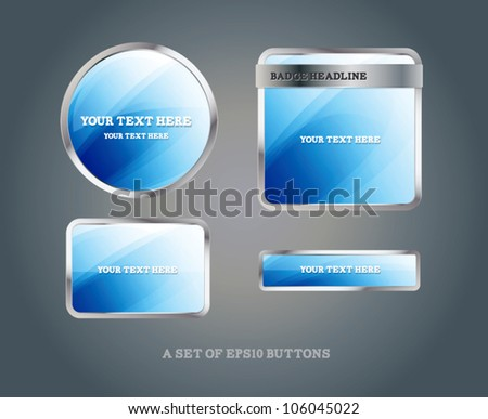 Set of blue glossy vector badges and buttons - stock vector