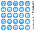 Set of blue glossy web icons on a white background - stock vector