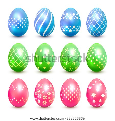 Set of blue, green and pink Easter eggs with decorative patterns, illustration. - stock vector