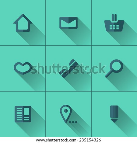 Set of blue icons for website menu. Flat design. Turquoise background - stock vector