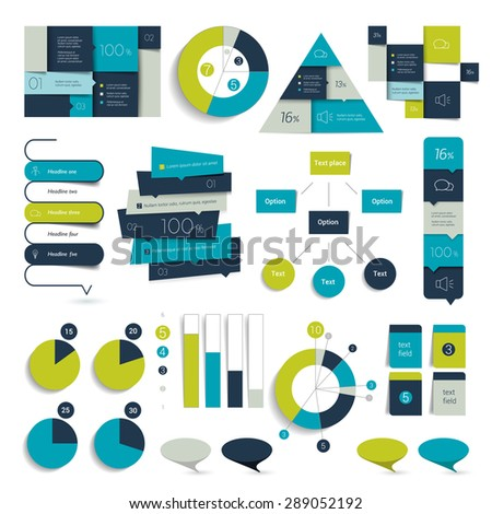 Set of Blue infographics elements, schedules, tabs, banners, charts. Minimalistic vector design infographic. - stock vector