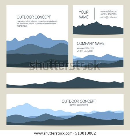 Set blue mountains forest backgrounds vector stock vector royalty set of blue mountains and forest backgrounds vector templates design for business cards greeting m4hsunfo