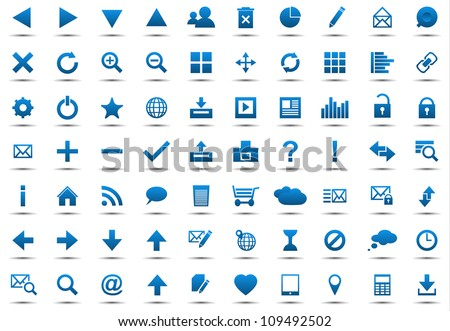 Set of blue navigation web icons isolated on white background - stock vector