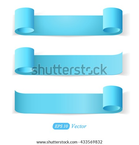 Set of blue Paper Stickers with Bended Coner