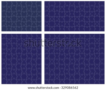 Set of blue puzzles, vector