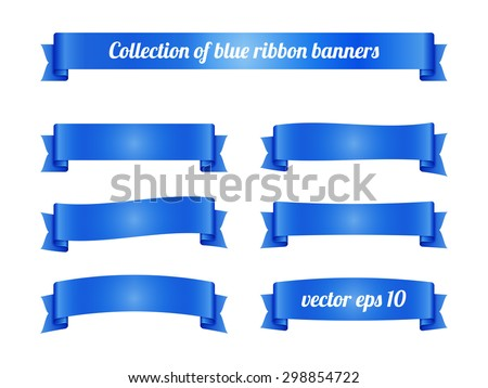Set of blue ribbon banners for promotion. Collection of retro scrolls elements for design. Vector illustration. - stock vector