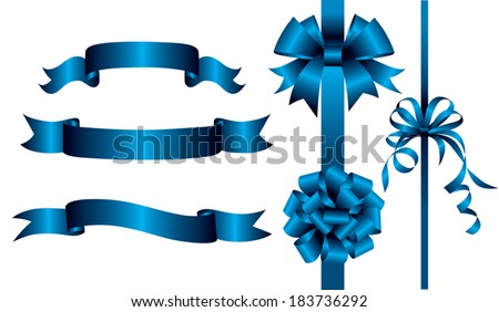 Set of blue ribbons and banners. Vector illustration - stock vector