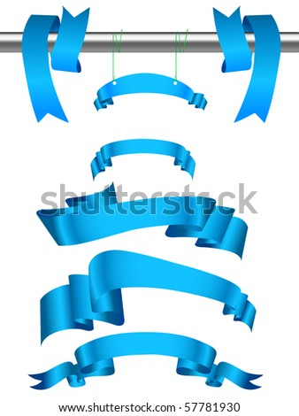 Set of blue ribbons.Vector illustration. - stock vector