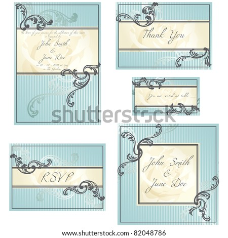 Set of blue Rococo wedding designs (eps10); jpg version also available - stock vector