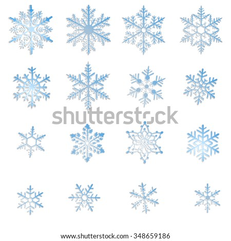 Set of blue snowflakes isolated on white background - stock vector
