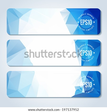 Set of blue vector banner with triangle pattern. Template for design - stock vector
