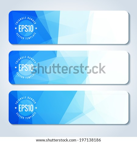 Set of blue vector banner with triangle pattern. Template for design