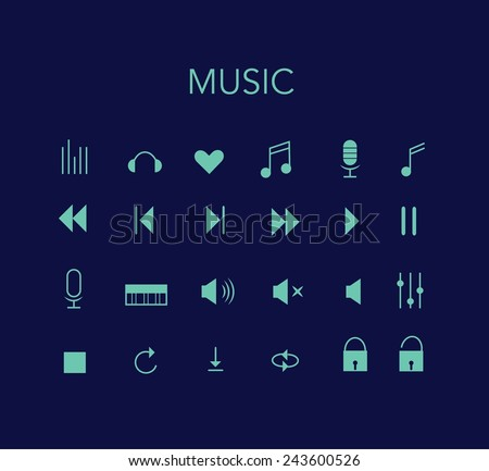 Set of blue vector music icons with dark background. Minimal style design. - stock vector